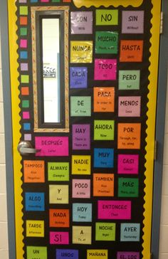 Idea to use back of door to display words that are used frequently during class