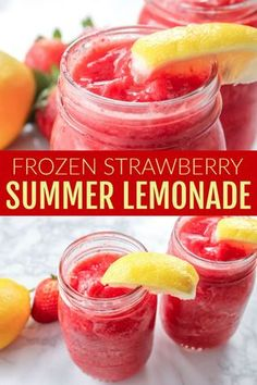 Easy Summertime Drink Recipe that is Refreshing and … Frozen Strawberry Lemonade! Easy Summertime Drink Recipe that is Refreshing and Perfect for the of July and Pool Parties or Backyard BBQs! Frozen Strawberry Lemonade, Strawberry Drinks, Fruit Drinks, Frozen Fruit, Smoothie Drinks, Healthy Drinks, Frozen Strawberry Recipes, Beverages, Recipes With Frozen Strawberries