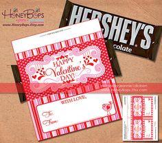Instant Download Valentine's Day Hersheys 1.55oz by HoneyBops, $9.95 #valentine #hersheys #chocolate #bar #wrapper #gift #printable