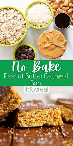 These healthy No Bake Peanut Butter Oatmeal Bars are decadent, slightly fudgy, and a wonderful snack or dessert made with just 8 natural ingredients! Best of all – no oven is required, just one bowl and under 10 minutes prep for a gluten-free, refined sugar-free treat! Healthy Protein Snacks, Healthy Cookies, Healthy Desserts, High Protein, Healthy Eats, Baking Recipes, Snack Recipes, Dessert Recipes, Peanut Butter Oatmeal Bars