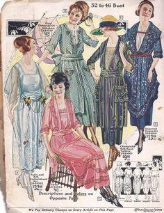 Women's Fashions from a 1921 Charles Williams Catalog 1920s Fashion Women, Retro Fashion, Vintage Fashion, Fashion Illustration Sketches, Illustrations, Antique Clothing, Historical Clothing, Fashion Images, Fashion Pictures