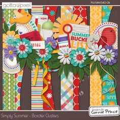 Simply Summer - Border Clusters :: Gotta Pixel Digital Scrapbook Store  from Designs by Connie Prince