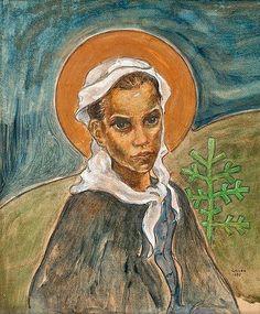 Akseli Gallen-Kallela (Finnish, - Girl from Ruovesi (Tyttö Ruovedeltä), 1895 Helene Schjerfbeck, Chur, Painting Snow, Life Paint, Your Paintings, Monet, Van Gogh, Great Artists, Illustration Art