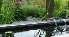 Rodenburg tuinen: achtertuin met hoogteverschil, inclusief een decoratief element in de vorm van een spiegelvijver.