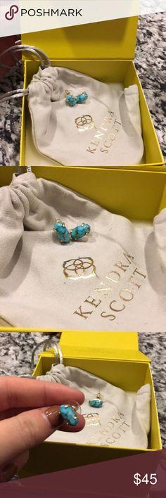 💎Turquoise Kendra Scott Stud Earrings💎 Kendra Scott Spring 2018 Betty Bronzed Vein Turquoise... these beautiful stud earrings are perfect for summer Kendra Scott Jewelry Earrings
