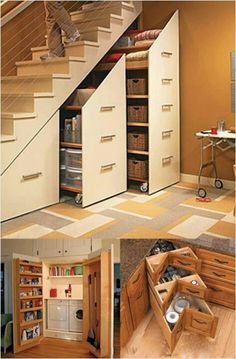 More awesome home storage ideas. how cool with the stair storage be!