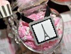 Candy jars at a Paris Party #paris #partycandy