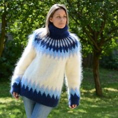 Your place to buy and sell all things handmade Mohair Yarn, Mohair Sweater, Wool Sweaters, Icelandic Sweaters, Pullover Mode, Chunky Knit Cardigan, Sweater Fashion, Knitwear Fashion, Plushies