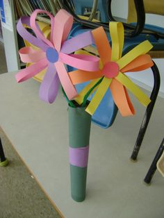 Construction paper flowers vase filled with gift wrap ribbon kid construction paper flower bouquet mightylinksfo