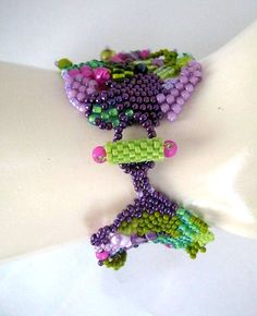 Colorful bracelet Multicolor cuff Seed bead jewelry Art by ibics