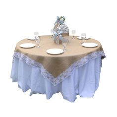 60 x 60 Inches Burlap and WHITE Lace Table Overlay/