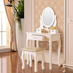 DFM Wood Makeup Vanity Table and Stool Set Makeup Desk Dressing table with 4 Drawer&Mirror