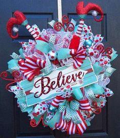 Christmas Deco Mesh Wreath - Christmas Front Door Wreath - Christmas Elf Wreath - Deco Mesh Wreath - Door Wreath - Turquoise and Red Wreath Christmas Front Doors, Christmas Mesh Wreaths, Christmas Elf, Winter Wreaths, Christmas Ornaments, Turquoise Christmas, Whimsical Christmas, Magical Christmas, Handmade Christmas