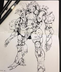 Emerson Tung - Girl in power armor sketch.