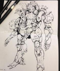 Emerson Tung - Girl in power armor sketch. Character Concept, Character Art, Character Design, Arte Cyberpunk, Arte Robot, Robot Concept Art, Art Studies, Comic Artist, Art Sketchbook