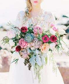 Full textured bouquet by Blush and Vine   Enchanting Seaside Bridal Inspiration   Leighanne Herr Photography