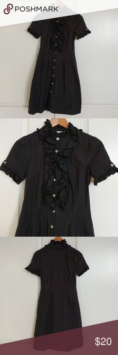 Black Ruffle Dress @tea_n_yoga at Poshmark  Black ruffle neckline and sleeves.  Has belt loops but missing the belt. Will remove the lints before shipping.  97% cotton 3% spandex Dresses Midi
