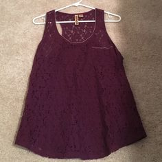 Plum Lace Tank With Zipper Trim Size large but fits like a medium. EUC. Eyeshadow Tops