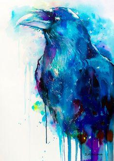 Raven watercolor painting print crow bird wildlife by SlaviART, $25.00