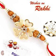 Picture of Golden metal flower and wooden bead Rakhi