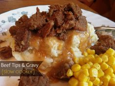 Sugar for Breakfast: Beef Tips & Gravy {slow cooker} Healthy Crockpot Recipes, Beef Recipes, Cooking Recipes, Crockpot Meals, Freezer Meals, Recipies, Cooking Ideas, Yummy Recipes, Crock Pot Beef Tips