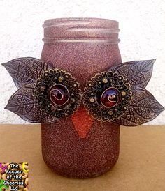 Owl Mason Jar Craft - Fall Mason Jar Craft ideas - Glam Owl Mason Jar