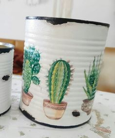 Tin Can Crafts, Diy And Crafts, Arts And Crafts, Recycle Cans, Diy Cans, Decoupage Tins, Painted Tin Cans, Tin Can Art, Cactus