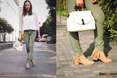 Beige Boots + White blouse