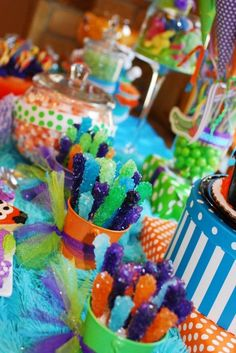 Monster Candy Bar - orange, green purple, blue candy would use for monsters Inc party Monster 1st Birthdays, Monster Inc Party, Monster Birthday Parties, Birthday Fun, First Birthday Parties, First Birthdays, Birthday Ideas, Candy Party, Party Treats