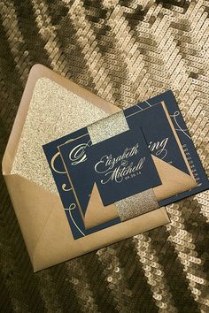 Foil - Navy and Gold Glitter Calligraphy Wedding Invitations / http://www.deerpearlflowers.com/navy-blue-and-gold-wedding-color-ideas/2/