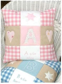 This beautiful patchwork pink or blue and natural linen cushion appliqued with an initial and embroidered name makes a lovely gift for a new baby, Christening or birthday. Applique Cushions, Patchwork Cushion, Sewing Pillows, Quilted Pillow, Diy Pillows, Decorative Pillows, Throw Pillows, Quilt Baby, Patch Quilt