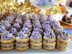 Sparkly cookie stacks at a confetti & glitter engagement party! See more party planning ideas at CatchMyParty.com!