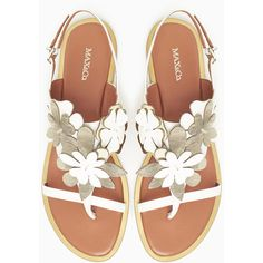 MAX&Co. Leather thongs with appliqué flowers ($215) ❤ liked on Polyvore featuring shoes, sandals, flip flops, flat sandals, strappy sandals, multi color sandals, leather sandals and leather strap sandals