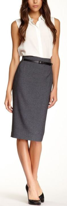 Belted Pencil Skirt #workwear #officechic