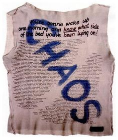 "tippi1992:Sid Vicious' CHAOS tee. On the shirt is scrawled a list of loves - ""Muhammad Ali, Bob Marley, coffee bars that sell whiskey under the counter, Lenny Bruce"" and hates: ""Television (not the group), parking tickets, Harper's, Vogue, and in fact all magazines that treat their readers as idiots."""