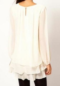 Beige Long Sleeve Cascading Ruffle Chiffon Dress