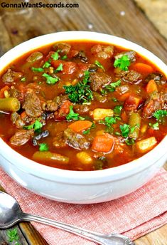 This Hearty, Old Fashioned Vegetable Beef Soup has an incredibly rich broth and is loaded with tender chunks of beef, and all the right veggies!  Oh my, oh my. Is there anything as classic, as heartwarmingly nostalgic, as Vegetable Beef Soup? It's got to be right up there with chocolate chip cookies and apple pie …