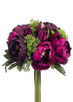 Hassle-free, budget-friendly artificial silk fall wedding bouquets at Afloral.com. Find this one with gorgeous peonies in purple burgundy and plum with sedum.