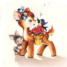 Baby Deer Bunny and Bluebird Vintage Birthday Card Illustration Mignonne, Cute Animal Illustration, Illustration Art, Vintage Illustrations, Vintage Birthday Cards, Vintage Greeting Cards, Vintage Postcards, Vintage Pictures, Vintage Images