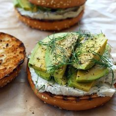 What's for lunch today? We love the look of these cream cheese and avocado bagels A quick and easy option for a packed lunch albeit it won't look as pretty we're sure it will taste incredible