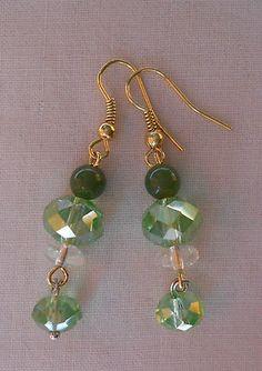 Handmade Earrings Mint Green Crystal Beaded with Green Crystal Dangle Beads  2013