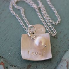 Loved Handstamped Brushed Sterling Square with Freshwater Pearl & Initial Disc