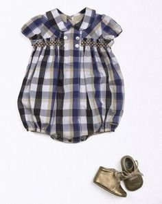 Smocked baby boy's romper - not so crazy about the fabric, but I like the style.: