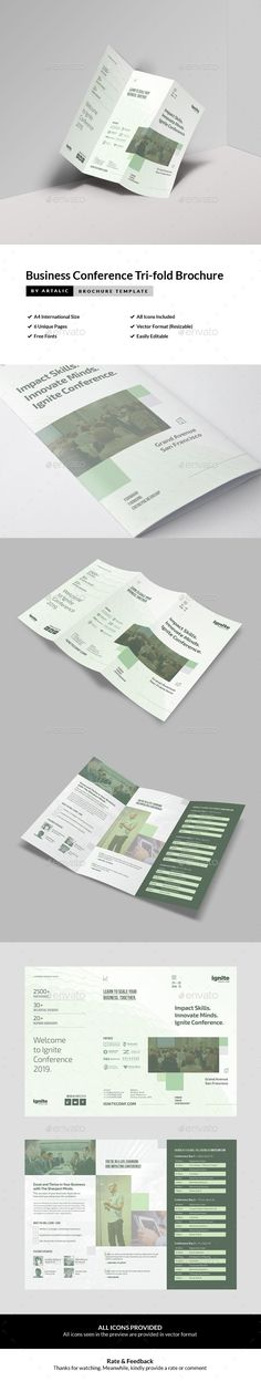Business Conference Tri-fold Brochure  #forum #informational #event • Click here to download ! http://graphicriver.net/item/business-conference-trifold-brochure/16073080?ref=pxcr