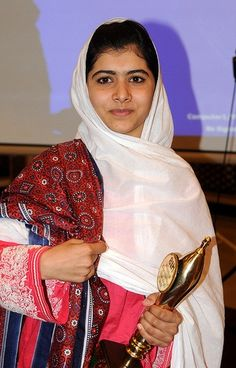 14 year old Malala Yousufzai. The Taliban shot her in the head for promoting girls' education in Pakistan. Here's to a very successful and speedy recovery for this important, young activist!