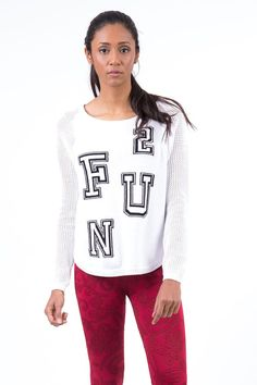 Baseball Style Knitted Cotton Jumper with FUN Design