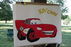 Pin the headlight on Lightning McQueen birthday party that I put up at my son's 3rd birthday party.