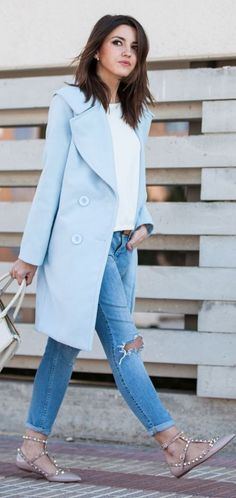 Powder Blue Wide Collar Coat by Lovely Pepa #powder