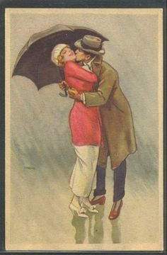 Art Deco Illustration-  Kiss in the rain.