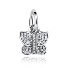 BAMOER 925 Sterling Silver Sparkling Butterfly CZ Animal Charm Fit Pandora Bracelet Jewelry
